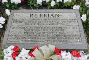 "alt=""Ruffian's Final Resting Place at Belmont Park"""