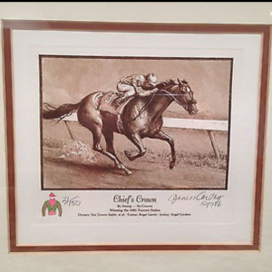 Cortez painting of '85 Travers Winner Chief's Crown, Angel Cordero Jr. aboard