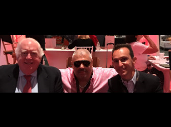 Jonathan Stettin with legendary announcer Tom Durkin and great rider Ramon Dominguez