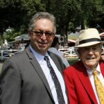 """alt=""""NYRA horse trainer Gary Contessa standing at Saratoga with Cot Campbell"""""""
