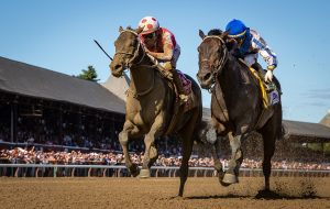 "alt="" Potential horse of the year Midnight Bisou noses out Elate at the wire in the Personal Ensign Stakes"""