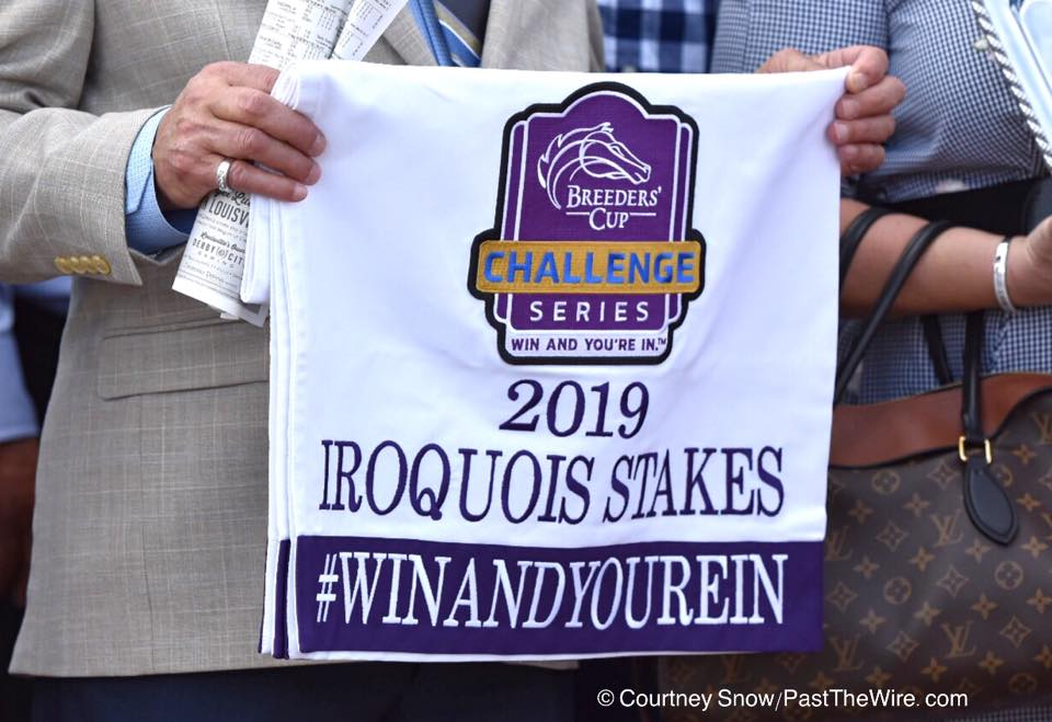 """alt=""""Breeders Cup Win and You're In saddle cloth from the 2019 Iroquois"""""""